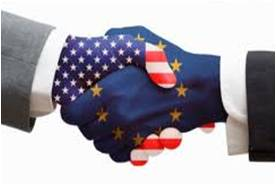 E.U. and American flags painted on hands that are in a handshake