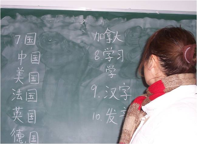 Learning Chinese - Teacher at blackboard with Chinese Writing