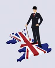 British man stands on map of britain overlaid with the Union Jack