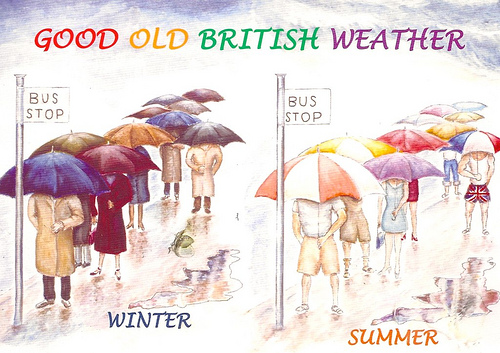 British people with umbrellas winter and summer